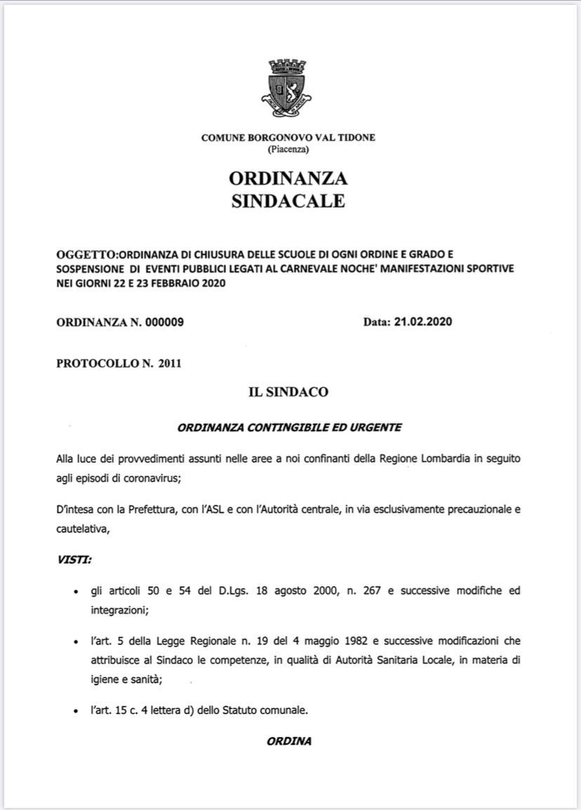 Ordinanza Comune Borgonovo
