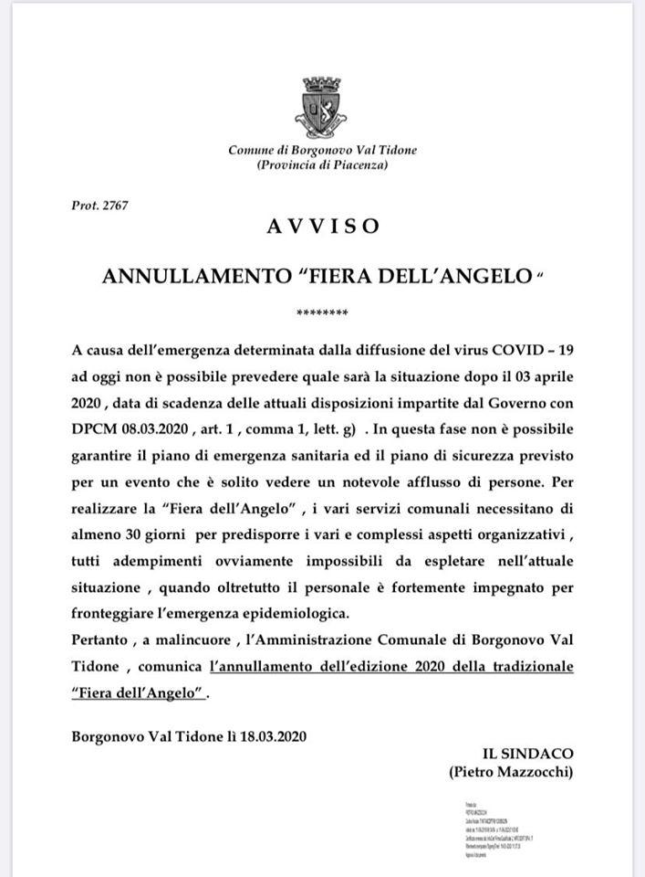 Annullamento Fiera dell'Angelo Borgonovo 2020