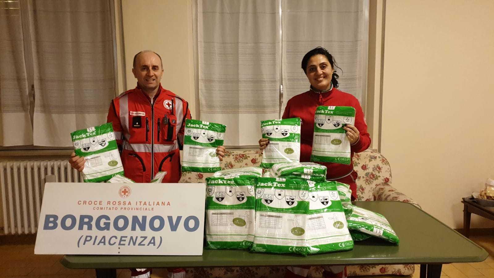 Donazione tute Pro Loco Croce Rossa Borgonovo